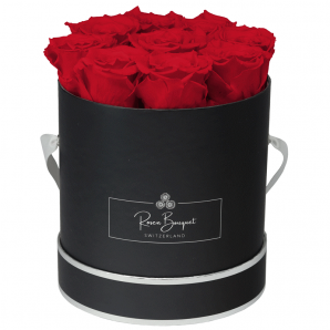 Infinity rosebox Luxe black with red roses (size M)