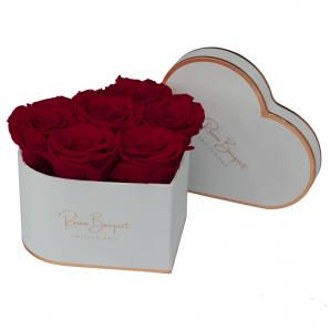 Infinity Rosenbox Herz weiss mit dunkelroten Rosen (Grösse M)