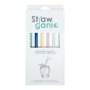 STRAWGANIC Glasstrohhalme Set farbig
