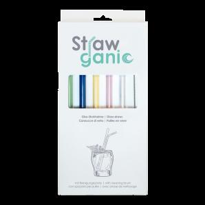 STRAWGANIC Glass Straws Set coloured