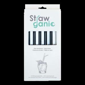 STRAWGANIC Glass Straws Set black