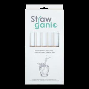 STRAWGANIC Glasstrohhalme Set transparent