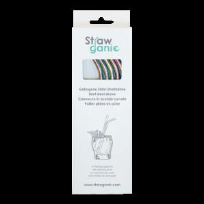 STRAWGANIC Steel Straws Curved Set multicoloured