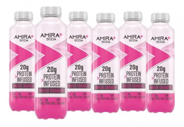 Image of Amira+ Soda Protein Infused Himbeer & Cranberry (6 x 500ml)