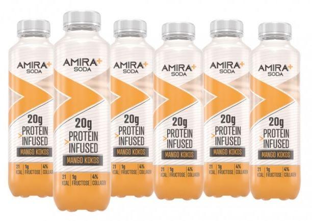 Image of Amira+ Soda Protein Infused Mango & Kokos (6 x 500ml)