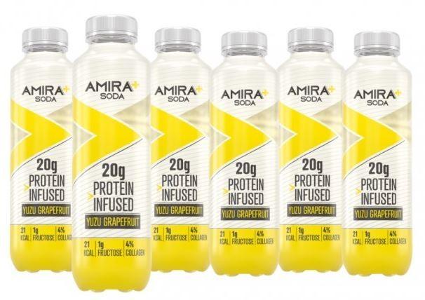 Image of Amira+ Soda Protein Infused Yuzu & Grapefruit (6 x 500ml)
